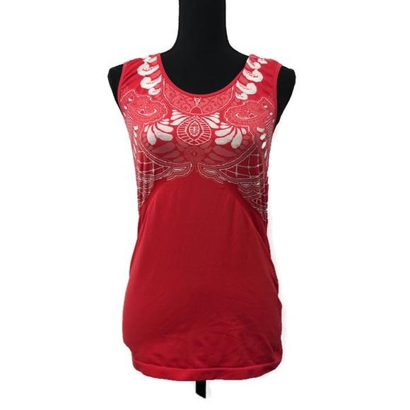 Athleta Tops - Athleta Red Patterned TankTop Workout Wear Size XL